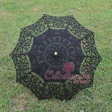 Handmade Battenburg Black Lace Cotton Embroidery Wedding Umbrella Sun Parasol