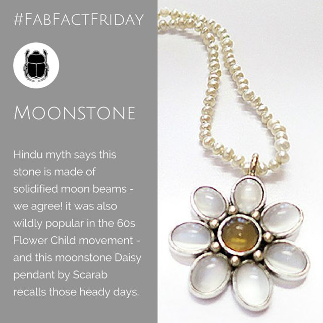 We love the idea that moonstones are really moon beams solidified... It's romantic. Perhaps that is why the flower children of the sixties were so fond of this gem stone. Daisy moonstone pendant with citrine centre on a string of natural pearls designed by Janine Davidson of Scarab Jewellery Studio.