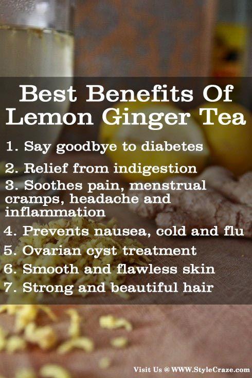 7 Best Benefits Of Lemon Ginger Tea: Follow us @ http://pinterest.com/stylecraze/health-and-wellness/  for more updates.