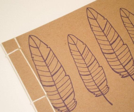 Feather Handmade Journal/Sketchbook by MechelleDesigns on Etsy, $8.00