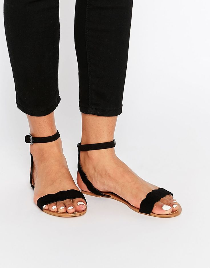 Image 1 of Faith Jem Black Suede Look Scalloped Edge Flat Simple Sandals