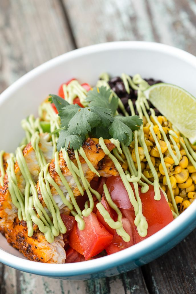 Broiled Chipotle Tilapia Bowl with Avocado Sauce