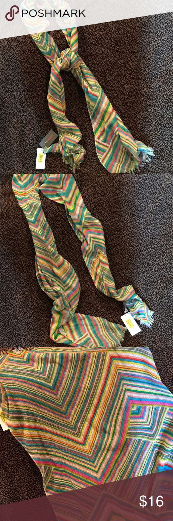 Echo Scarf - Multi Colored - NWT Fringed on end  - 100% Polyester - NWT- purchased at Dillards. Echo Accessories Scarves & Wraps