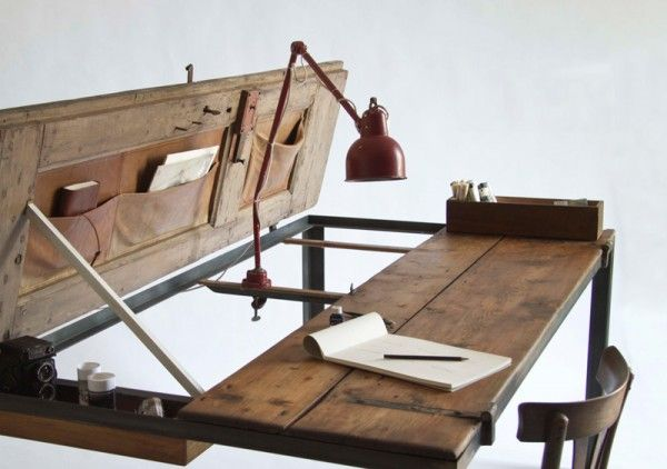 vintage door transformed into a table/desk