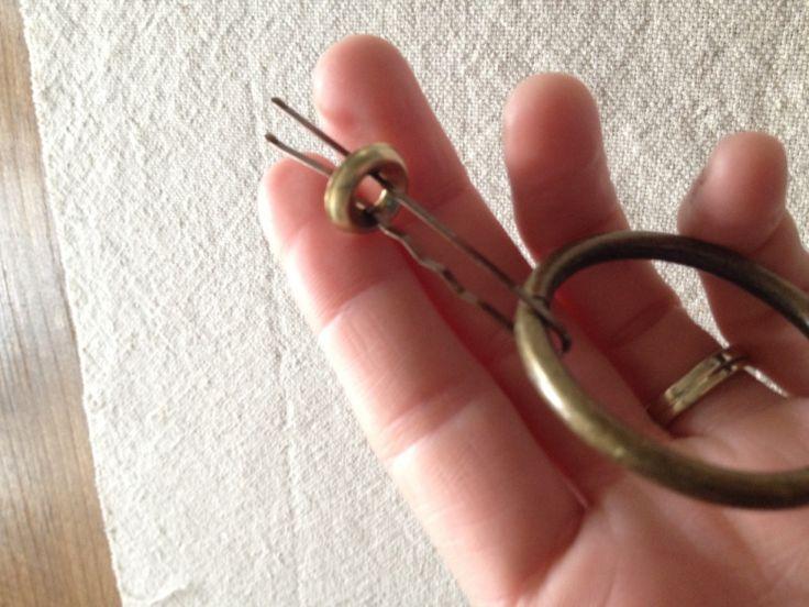 DIY Drawer Ring Pulls ... super cheap ... curtain rings, finishing