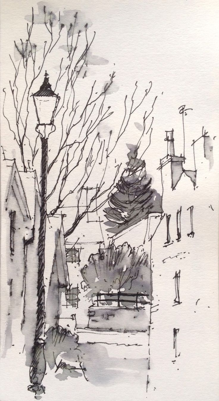 Line Art Watercolor : Good monochromatic ink and watercolor quick sketch