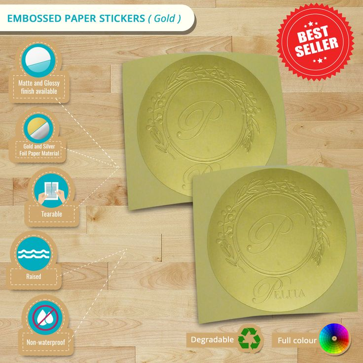 Experience the sophisticated and elegant look on your #labels. Learn from this #infographic what we have on #EmbossedPaper #Stickers.