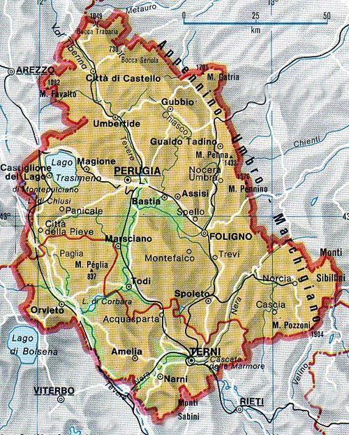 Mappa dell'Umbria - Cartina dell'Umbria
