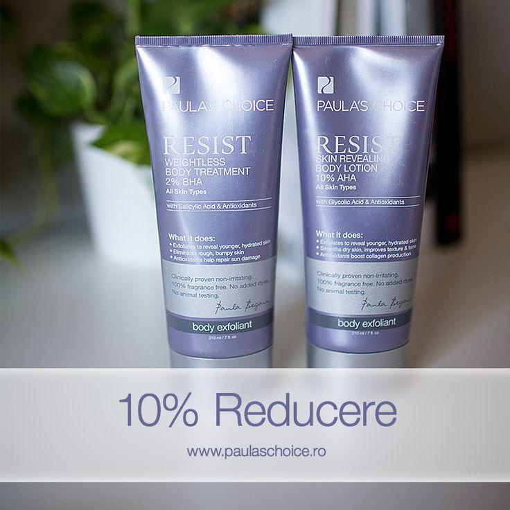 Resist Weightless Body Treatment 2% BHA este o loţiune de corp inovatoare care combină acidul salicilic care exfoliază pielea și combate acneea, cu antioxidanți puternici care hidratează pielea în profunzime. Pe de altă parte, Resist Skin Revealing Body Lotion 10% AHA este o loțiune de corp optimă pentru pielea uscată cu 10% acid glicolic și antioxidanți care face pielea catifelată și plăcută la atingere.