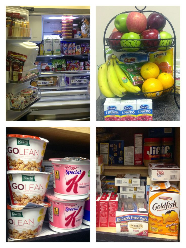 Is your office's break room full of food? Is it healthy? Here are some of the items our refrigerator and cabinets are stocked full of.
