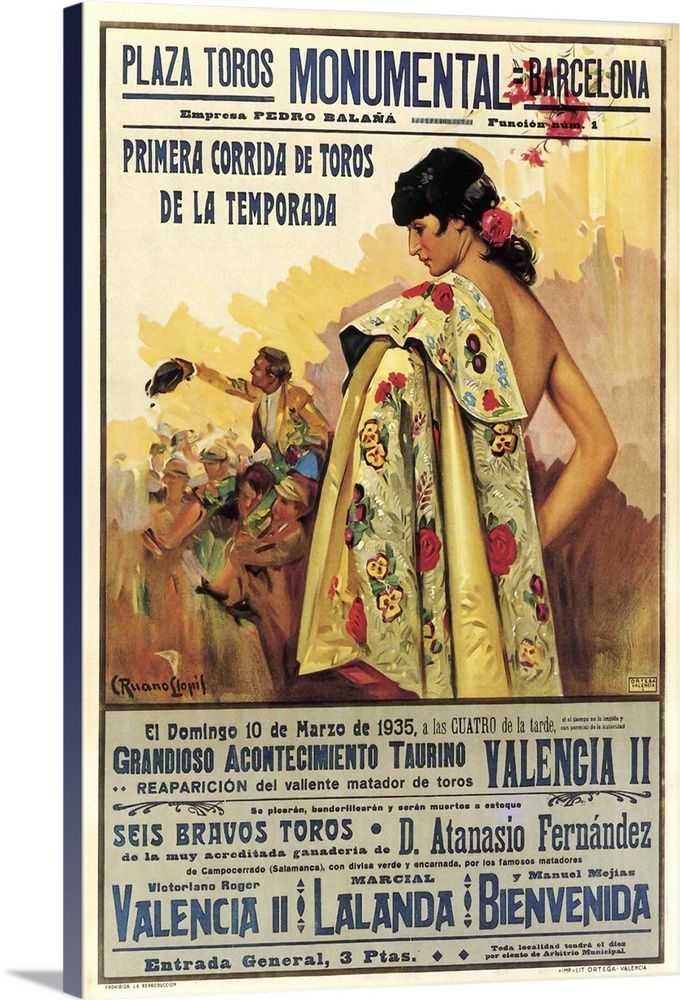 Plaza De Toros Barcelona Vintage Entertainment Advertisement In 2021 Vintage Ads Poster Prints Barcelona Spain