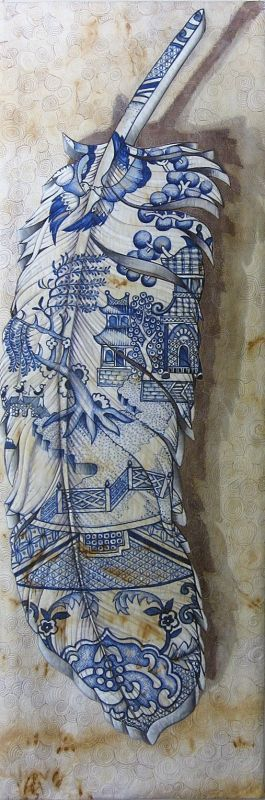 Blue Willow Feather by Julie Haddrick   SAlt (South Australian Living Textiles). Posted at Craft Quilt Fair Tasmania 2014