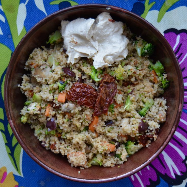 Couscous bowl w veggies and humus