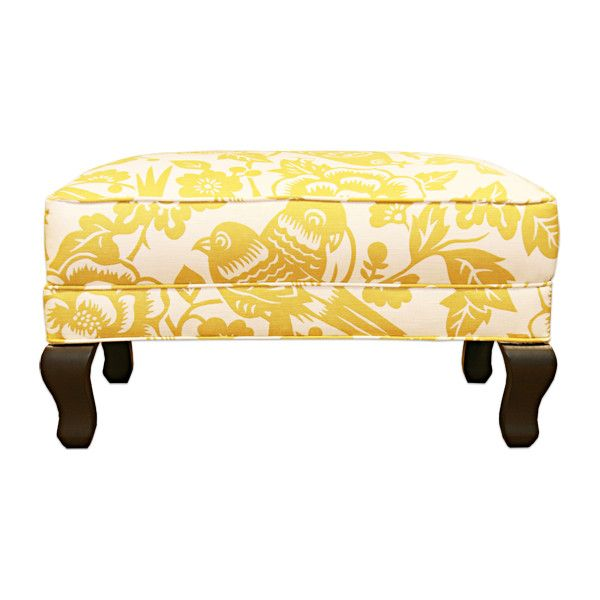 White Leather Sofa Songbird Yellow Ottoman Arhaus Furniture found on Polyvore