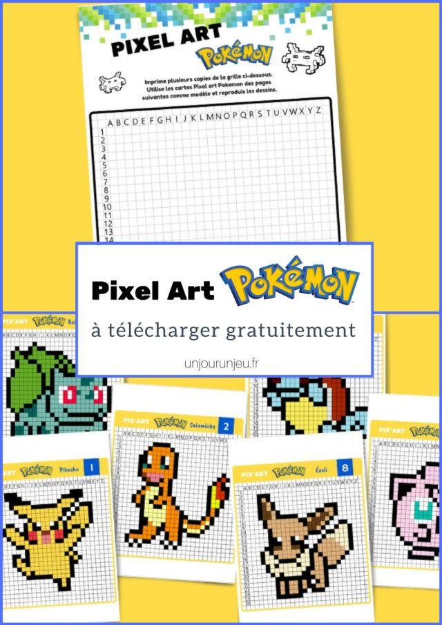 Pixel Art Pokemon Pikachu Salameche Bulbizarre Etc A Imprimer