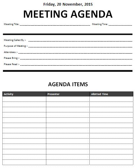 Business Meeting Agenda Templates Free Sample Example Format