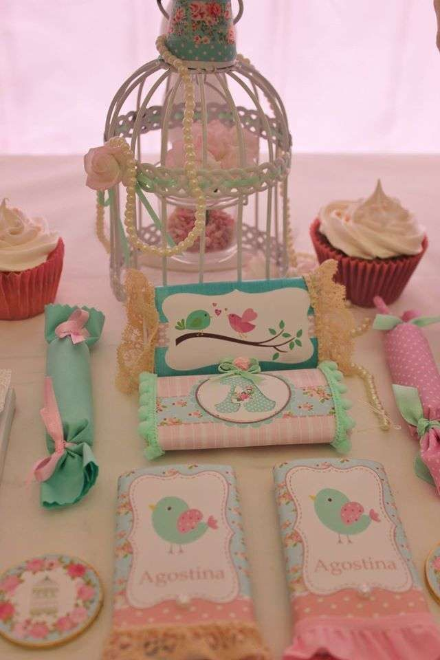 Bird themed candy at a shabby chic 1st birthday party! See more party planning ideas at CatchMyParty.com!