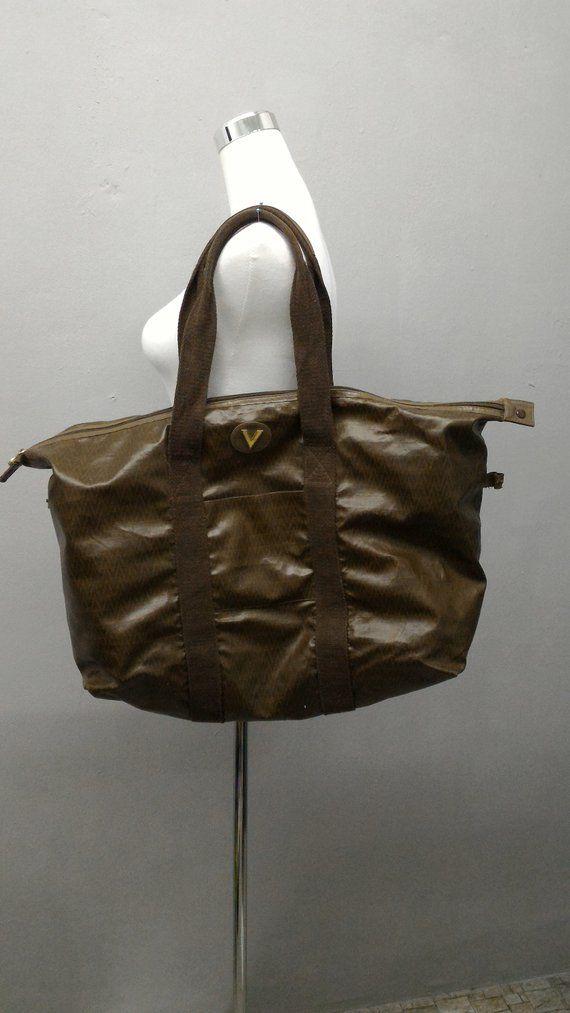 Vintage Mario Valentino Duffle Bag Brown Color Monogram 80s Bags Bag Making Mario Valentino