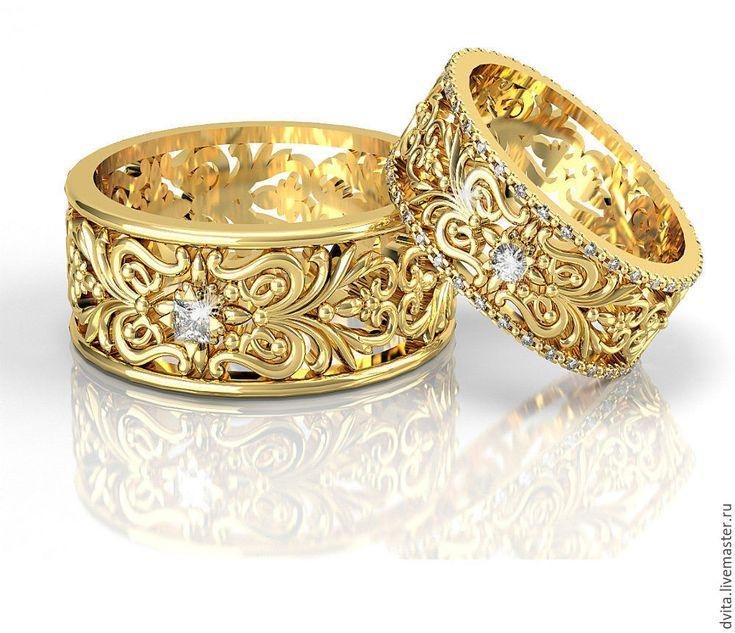 Gold Wedding Rings / Обручальные золотые кольца с браллианатми - обручальные кольца, золотые украшения, золотые кольца