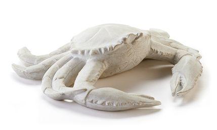 polystone realistic crab, weathered white finish  9 x 8.3 x 2.6