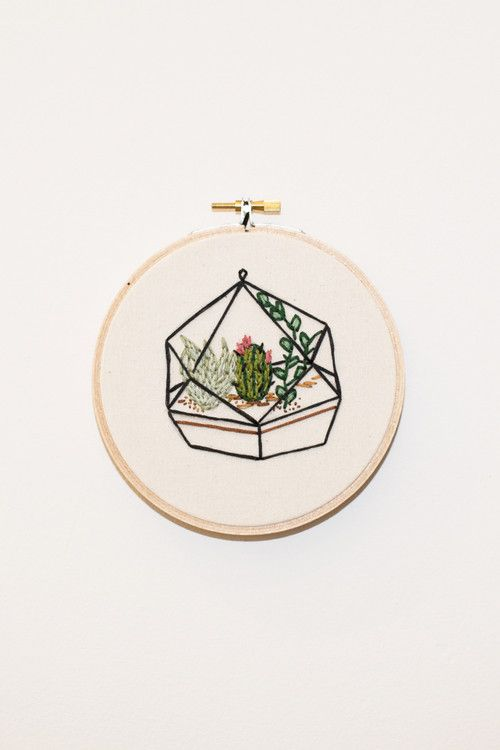 """Koe-Zee succulent terrarium embroidery framed in 5.5"""" wooden embroidery hoop. HANDMADE IN SEATTLE, WA PIPE AND ROW"""