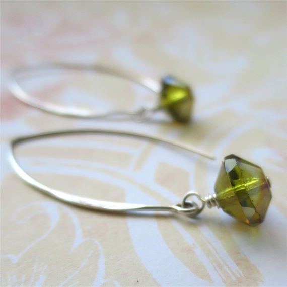 Moss green earrings faceted czech glass beads on long sterling