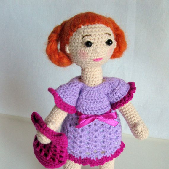 Crochet  Doll Amigurumi with  ginger color hair