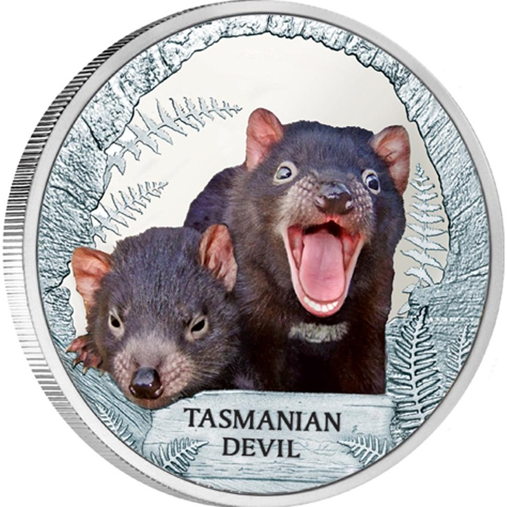 Endangered and Extinct Tasmanian Devil 2013 1oz Silver Proof Coin – The Perth Mint, Australia