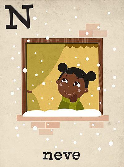 #hellobea: #snow #neve #window #finestra #winter #inverno #illustration #childrensillustration #alphabet