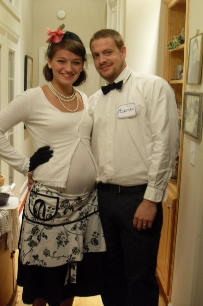 pregnant on halloween milk man and housewife best costume we ever had - Pregnant Halloween Couples Costumes