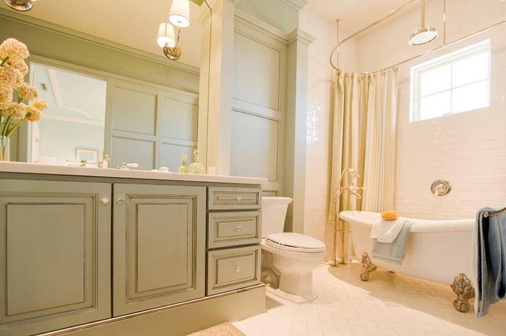 Bathroom: Amazing Large Painting Bathroom Cabinets With Bathtub And Stainless Steel Faucet Also Large Bathroom Wall Mirror Ceramic Floor And Toilet Seat Lighting from A Fascinating Project: Painting Bathroom Cabinets
