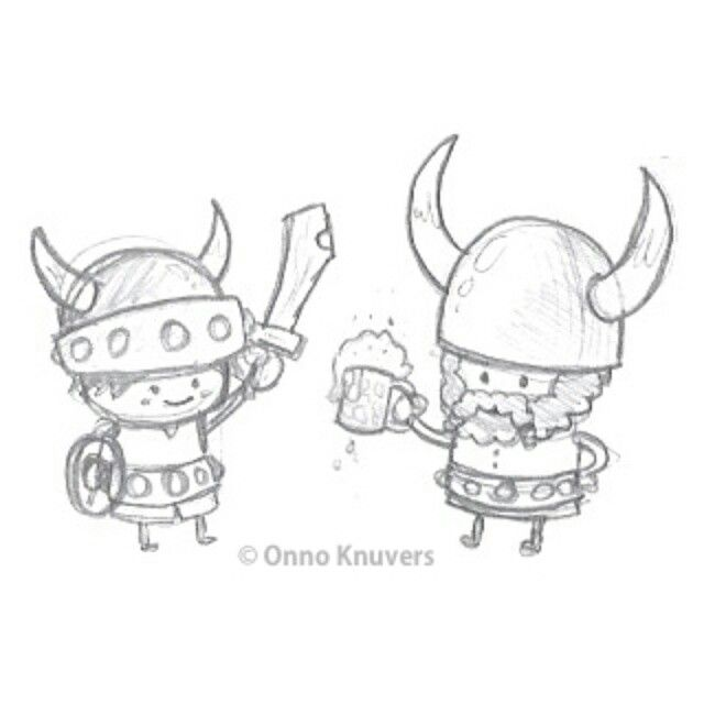 Sketches for cute mighty Viking warriors
