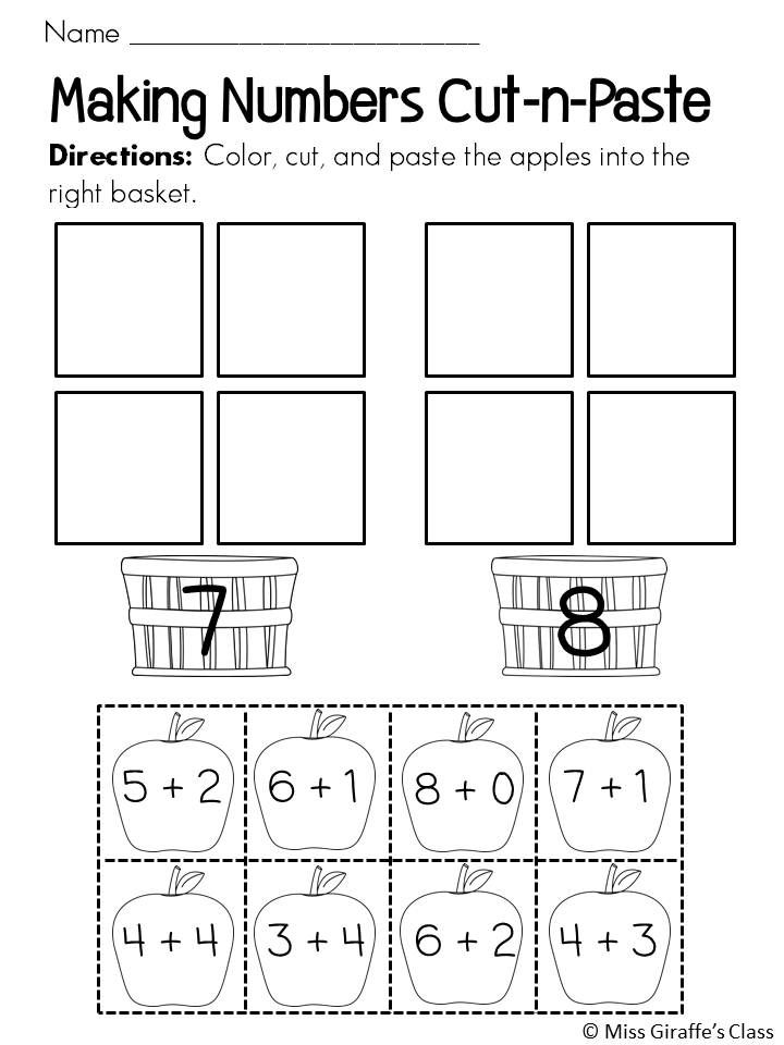 Making Numbers cut and pastes with cute fall apple theme!
