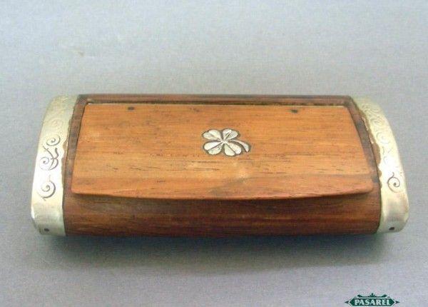 Pasarel - Moroccan Silver Inlaid & Mounted Wood Snuff Tobacco Box, 1920's. $250.00