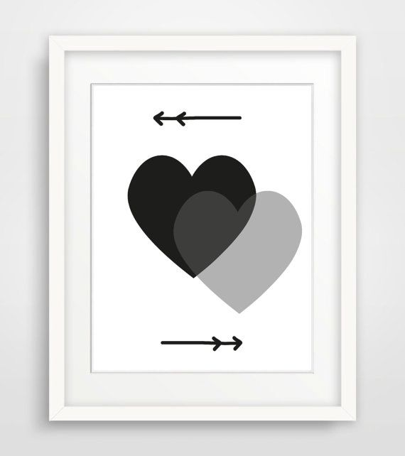 heart print printable art print black white wall art arrow. Black Bedroom Furniture Sets. Home Design Ideas