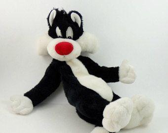 Vintage des années 90 Sylvester le chat en peluche, Warner Bros, Looney Tunes peluche, personnage de dessin animé, Cartoon peluche, chat TV, cadeau d'amant de chat, chat peluche