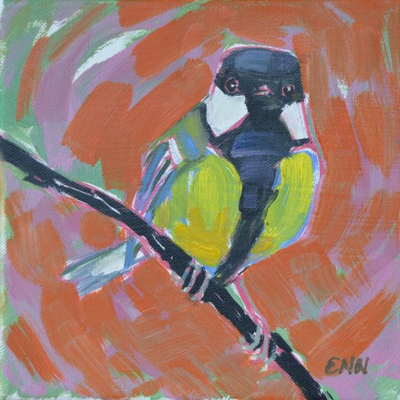 Original bird oil painting/ garden birds / by NielsenDenmark