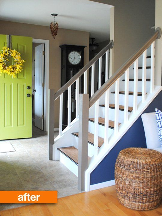 Before  After: Bland Foyer Gets A Facelift   Apartment Therapy. Love the staircase railing paint job - need to do something similar!