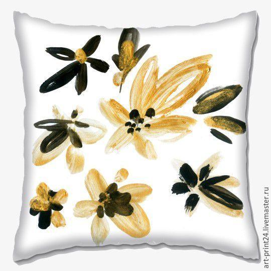 """Купить Подушка декоративная """"Цветы"""" - комбинированный, Подушки, подушки декоративные, подушки диванные, подушка с принтом"""