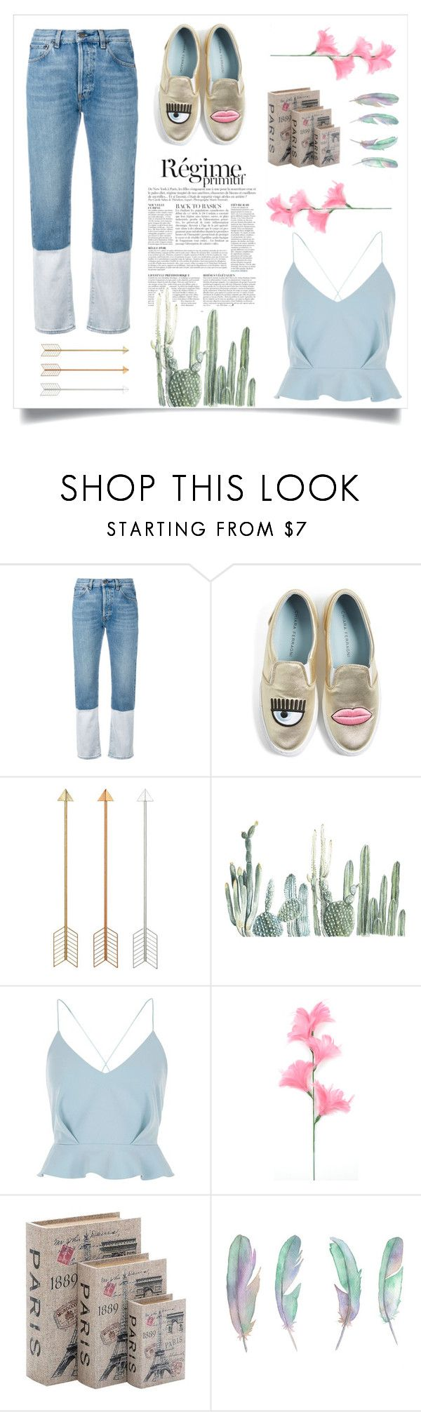 """Casual Date Night"" by emilyruthwalster ❤ liked on Polyvore featuring Ports 1961, Chiara Ferragni, Anja, River Island and Home Decorators Collection"