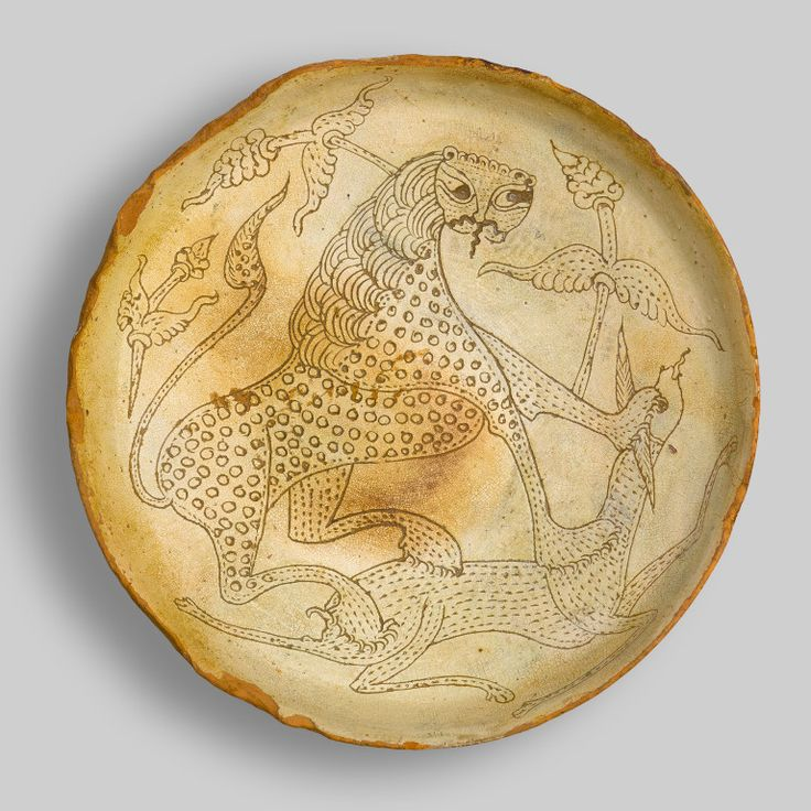 Byzantine Ceramics Plate with cheetah attacking a deer, mid-12th century, glazed earthenware with sgraffito decoration, Nea Anchialos Archaeological Collection