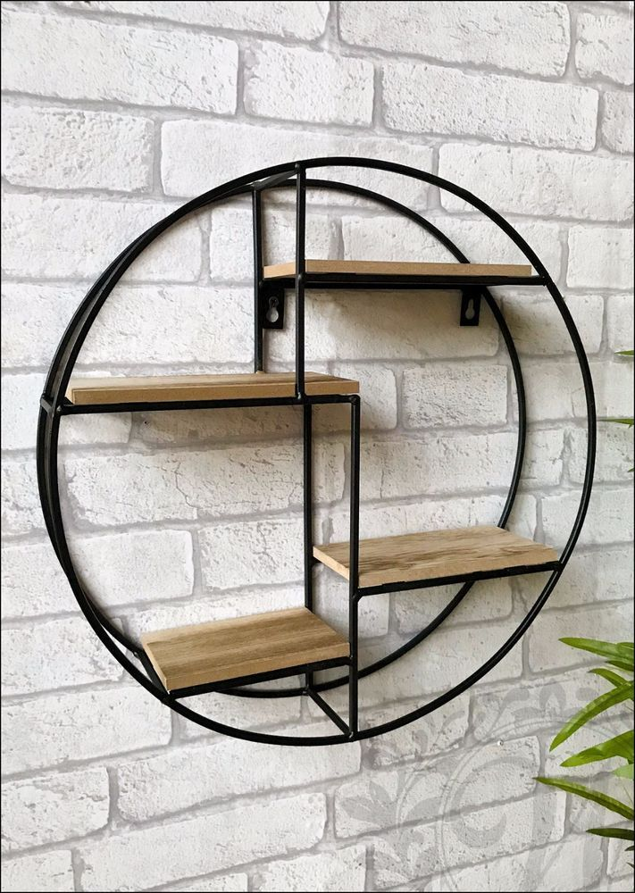 Round Wall Unit Retro Wood Industrial Style Metal Shelf Rack