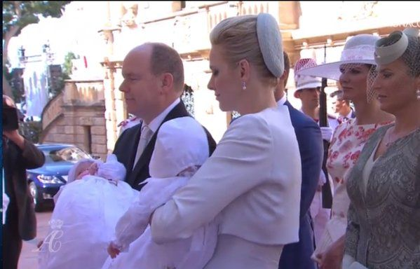 The baptism of the Princely Children of Prince Albert II and Princess Charlene, Hereditary Prince Jacques and Princess Gabriella, celebrates at religious ceremony place in Monaco Cathedral