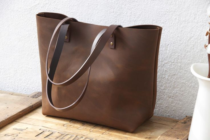 """Large Brown Leather tote bag. Sturdy Premium waxed leather. """"Cabas"""". Handmade by VermutAtelier on Etsy https://www.etsy.com/listing/232059956/large-brown-leather-tote-bag-sturdy"""