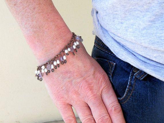 Pearl and Amethyst Bracelet Copper Dangle Bracelet by bluetina