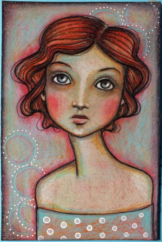 "Original OOAK 4 x 6 Mixed Media acrylic colored pencil ""Gentle"" A Kennedy portrait girl woman"