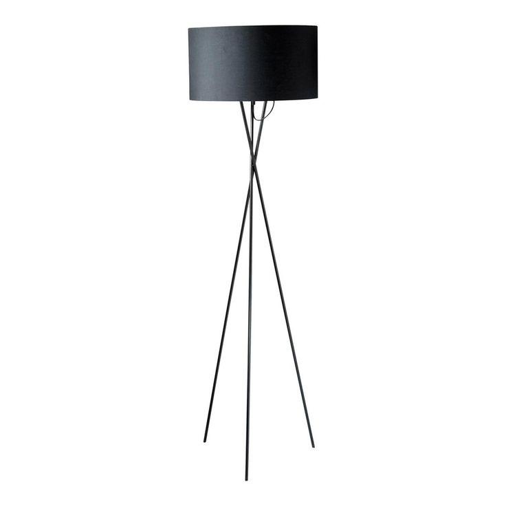 Lampadaire trépied en métal et coton noir H 154 cm CARLA