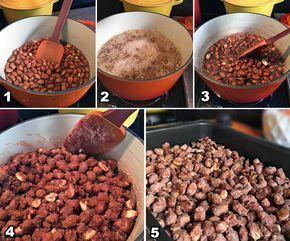 Amendoim Praliné 1 xícara (chá) de amendoim cru com pele (ou casca); 1 xícara (chá) de açúcar refinado; 1/2 xícara (chá) de água; 1 colher (café) de fermento em pó; 1 colher (chá) de canela em pó (opcional); 1 colher (café) de cravo moído (opcional).  O fermento nesta receita serve para deixar a casquinha de açúcar mais crocante e para ela aderir melhor ao amendoim.