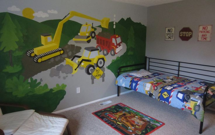 Best 25 boys construction room ideas on pinterest for Construction site wall mural