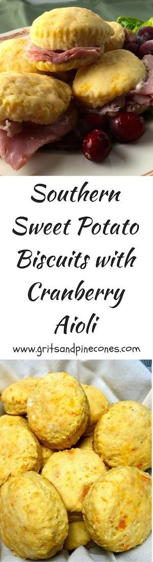 Southern fluffy and flaky Sweet Potato Biscuits and Cranberry Aioli with country ham are perfect for a lazy summer breakfast or brunch. via @gritspinecones/